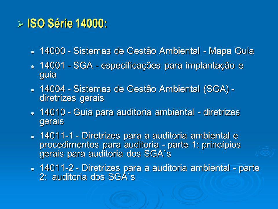  ISO Série 14000: 14000 - Sistemas de Gestão Ambiental - Mapa Guia 14000 - Sistemas de Gestão Ambiental - Mapa Guia 14001 - SGA - especificações para