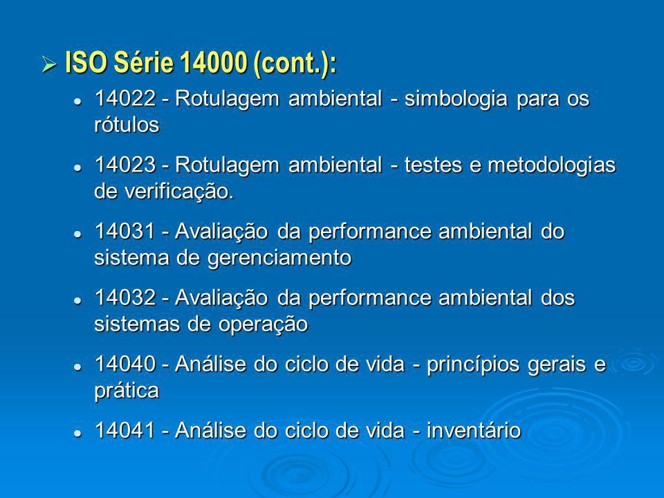  ISO Série 14000 (cont.): 14022 - Rotulagem ambiental - simbologia para os rótulos 14022 - Rotulagem ambiental - simbologia para os rótulos 14023 - R