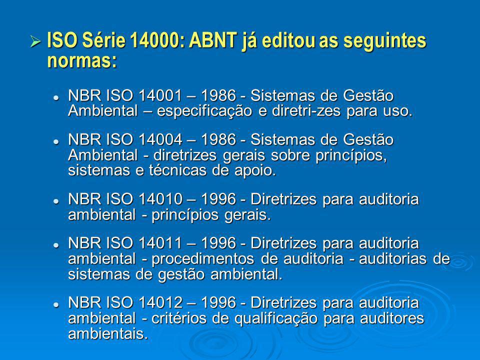  ISO Série 14000: ABNT já editou as seguintes normas: NBR ISO 14001 – 1986 - Sistemas de Gestão Ambiental – especificação e diretri-zes para uso. NBR