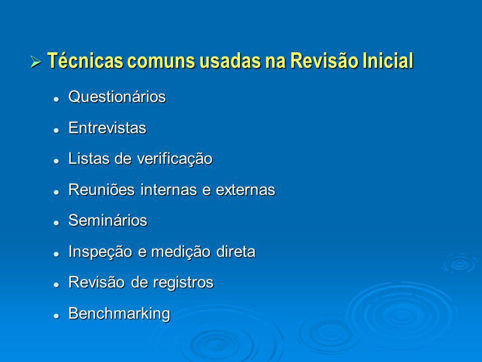  Técnicas comuns usadas na Revisão Inicial Questionários Questionários Entrevistas Entrevistas Listas de verificação Listas de verificação Reuniões i