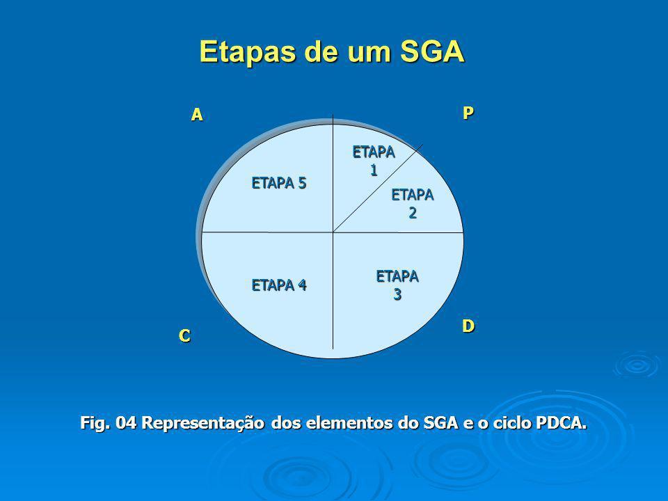 ETAPA1 ETAPA 5 ETAPA2 ETAPA 4 ETAPA3PA C D Fig. 04 Representação dos elementos do SGA e o ciclo PDCA. Etapas de um SGA
