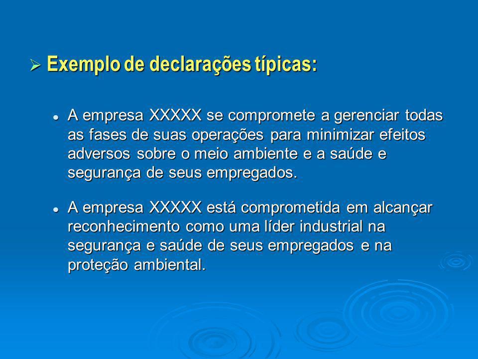  Exemplo de declarações típicas: A empresa XXXXX se compromete a gerenciar todas as fases de suas operações para minimizar efeitos adversos sobre o m