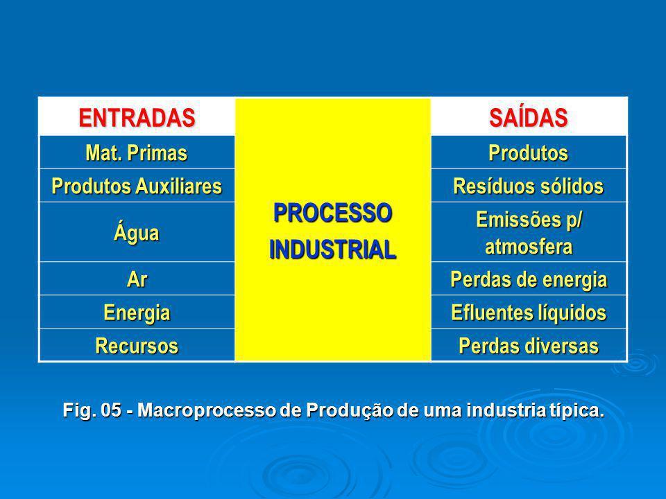 ENTRADAS PROCESSOINDUSTRIAL SAÍDAS Mat. Primas Produtos Produtos Auxiliares Resíduos sólidos Água Emissões p/ atmosfera Ar Perdas de energia Energia E