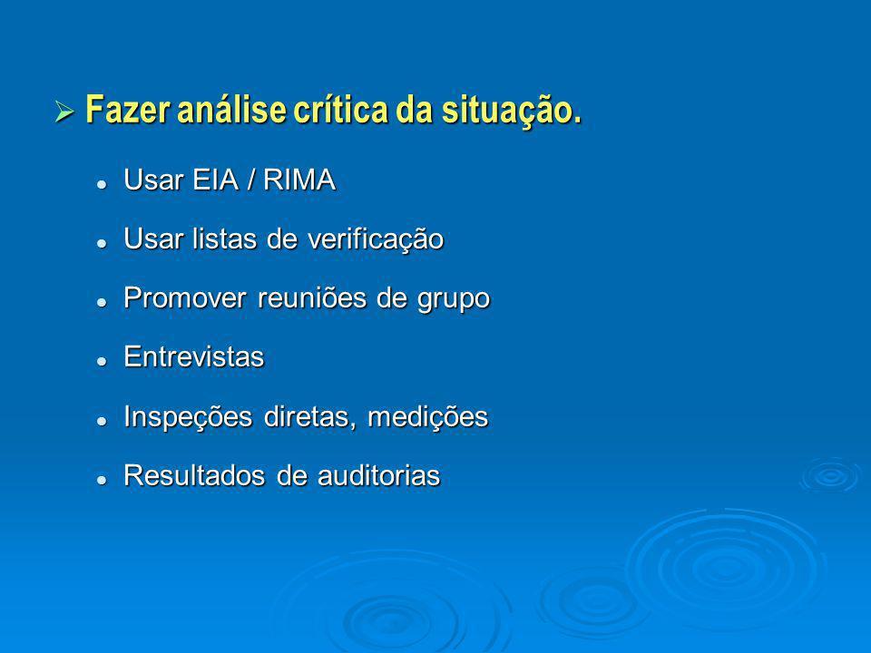  Fazer análise crítica da situação. Usar EIA / RIMA Usar EIA / RIMA Usar listas de verificação Usar listas de verificação Promover reuniões de grupo