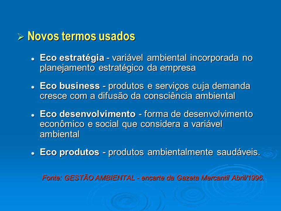  Novos termos usados Eco estratégia - variável ambiental incorporada no planejamento estratégico da empresa Eco estratégia - variável ambiental incor