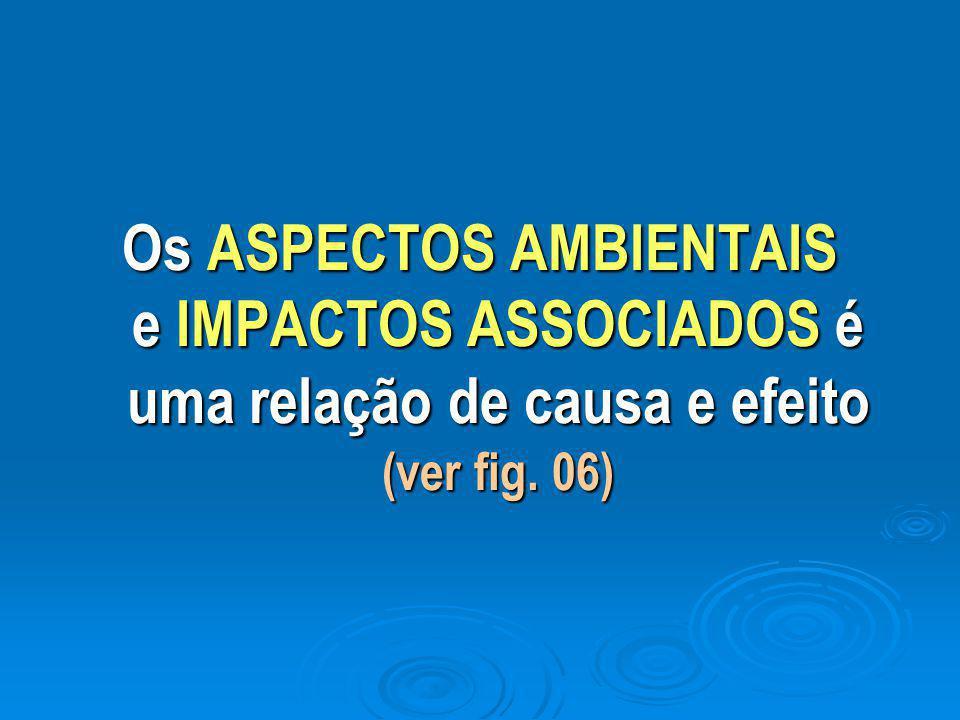 Os ASPECTOS AMBIENTAIS e IMPACTOS ASSOCIADOS é uma relação de causa e efeito (ver fig. 06)