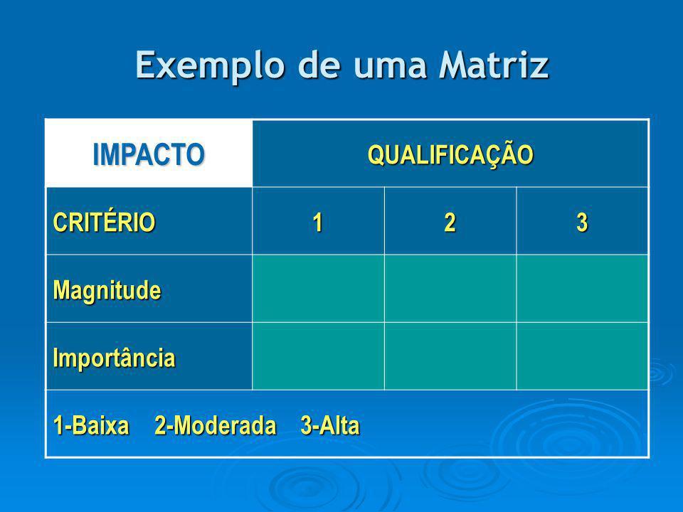 Exemplo de uma Matriz IMPACTOQUALIFICAÇÃO CRITÉRIO123 Magnitude Importância 1-Baixa 2-Moderada 3-Alta