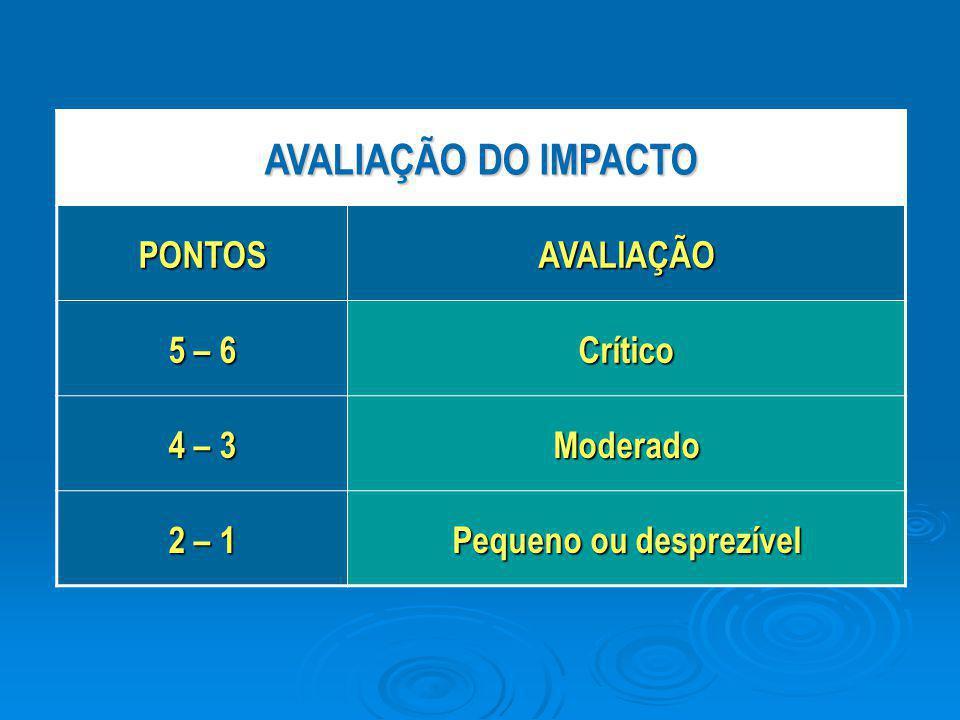 AVALIAÇÃO DO IMPACTO PONTOSAVALIAÇÃO 5 – 6 Crítico 4 – 3 Moderado 2 – 1 Pequeno ou desprezível