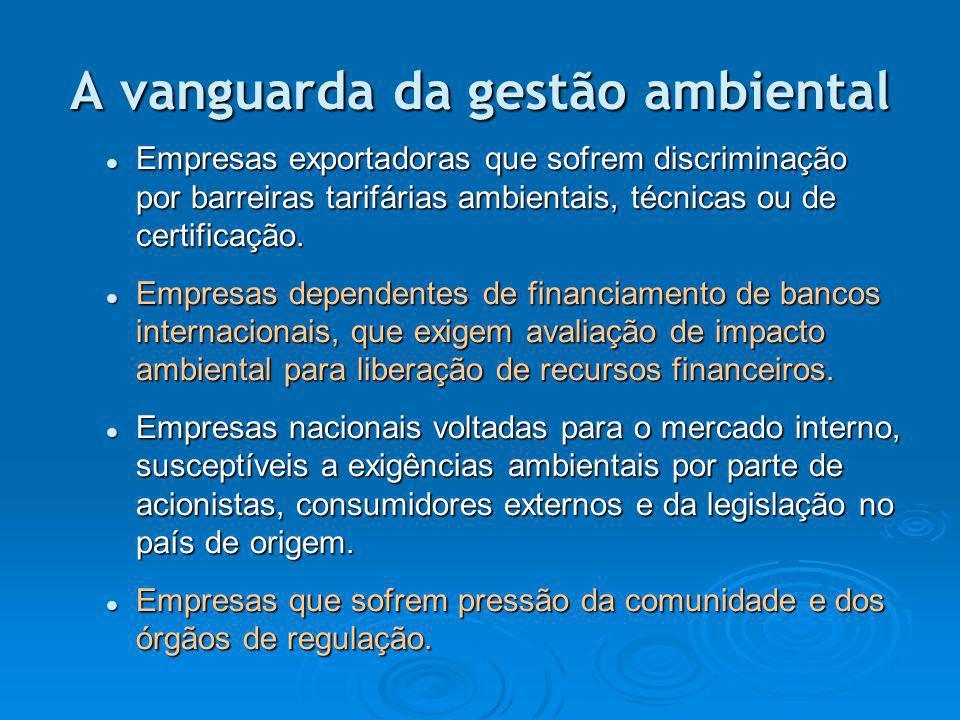 A vanguarda da gestão ambiental Empresas exportadoras que sofrem discriminação por barreiras tarifárias ambientais, técnicas ou de certificação. Empre