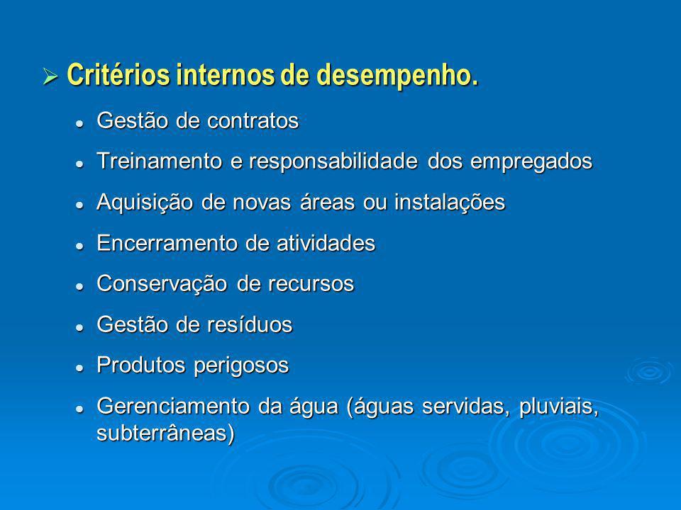  Critérios internos de desempenho. Gestão de contratos Gestão de contratos Treinamento e responsabilidade dos empregados Treinamento e responsabilida
