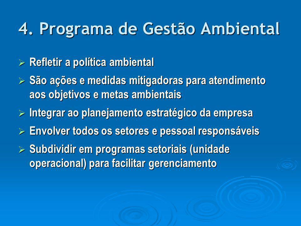 4. Programa de Gestão Ambiental  Refletir a política ambiental  São ações e medidas mitigadoras para atendimento aos objetivos e metas ambientais 