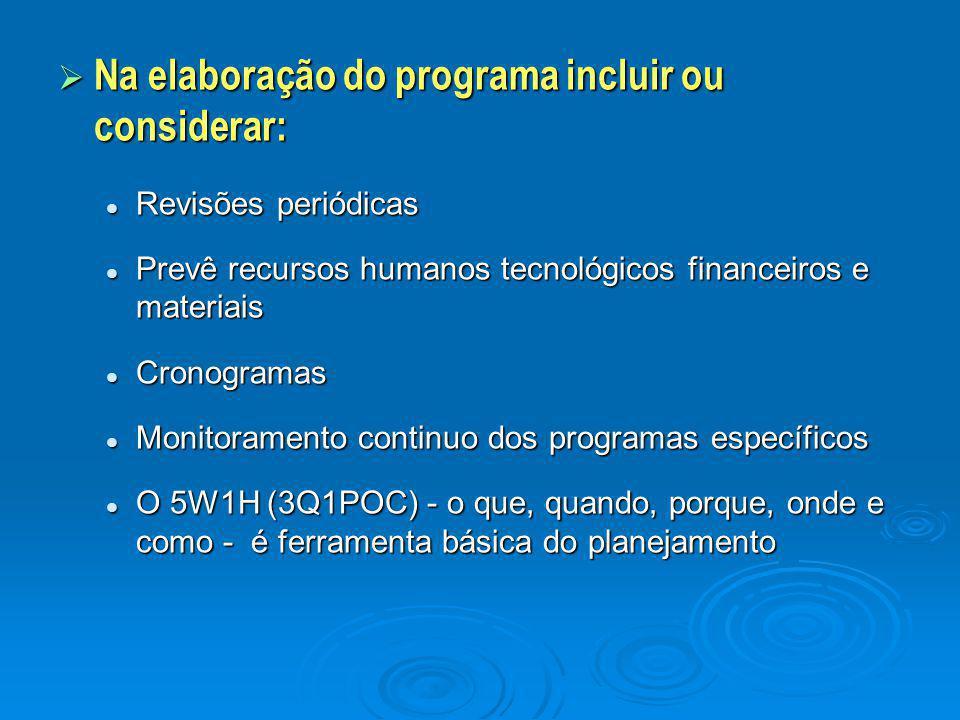 Na elaboração do programa incluir ou considerar: Revisões periódicas Revisões periódicas Prevê recursos humanos tecnológicos financeiros e materiais