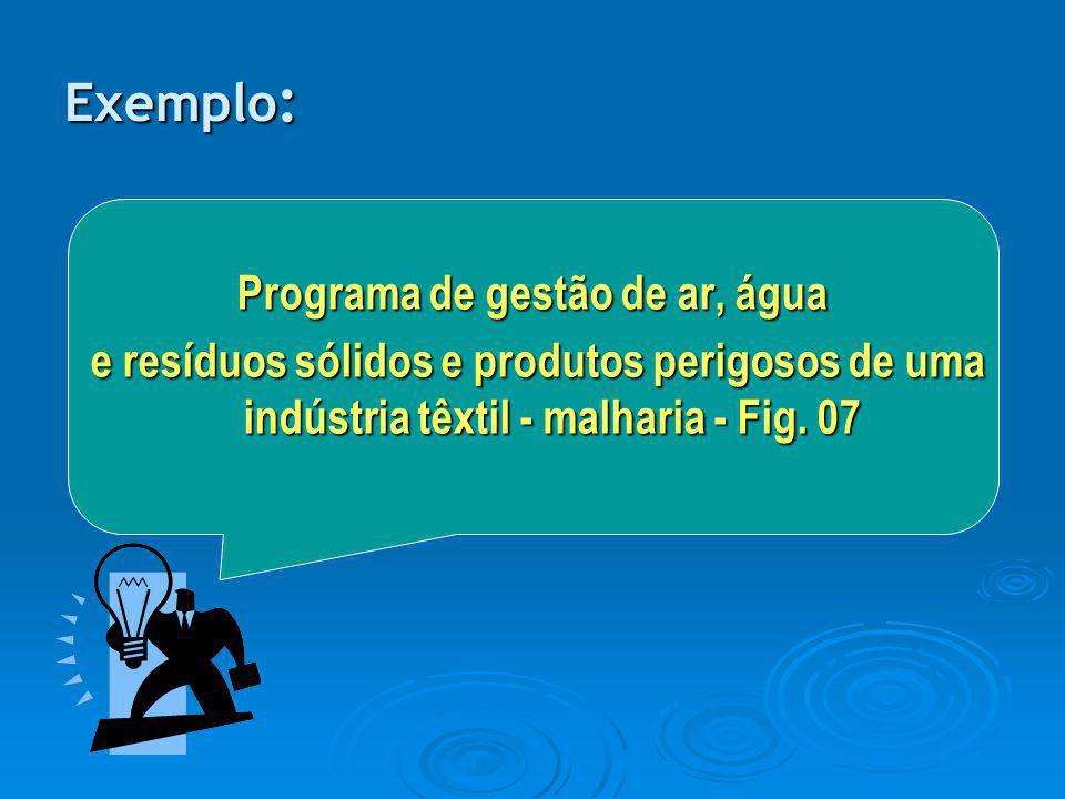 Exemplo : Programa de gestão de ar, água e resíduos sólidos e produtos perigosos de uma indústria têxtil - malharia - Fig. 07 e resíduos sólidos e pro