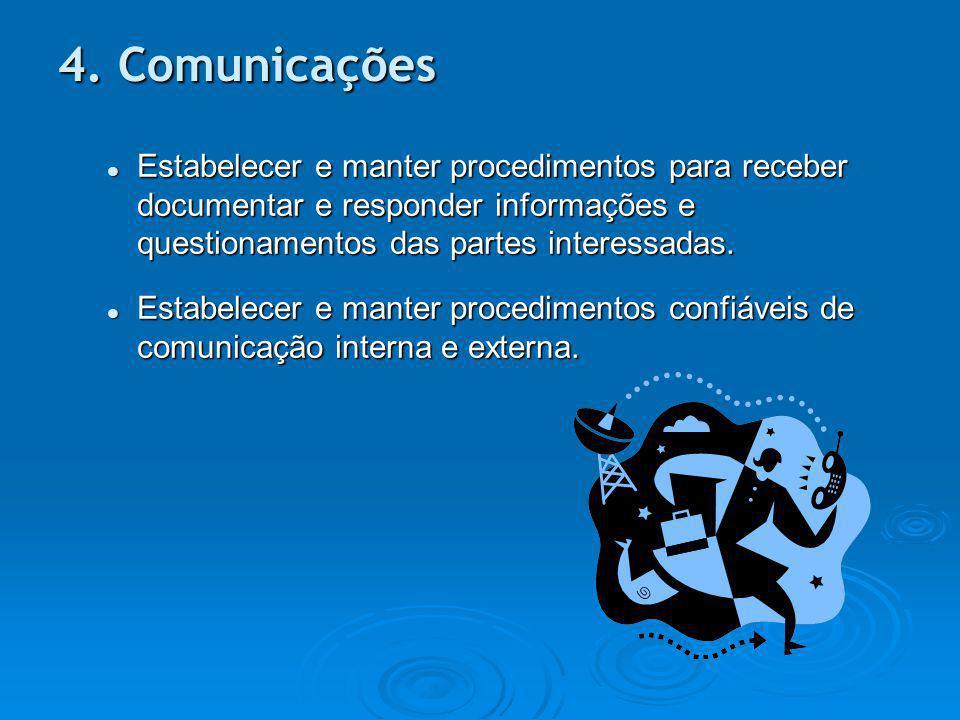 Estabelecer e manter procedimentos para receber documentar e responder informações e questionamentos das partes interessadas. Estabelecer e manter pro