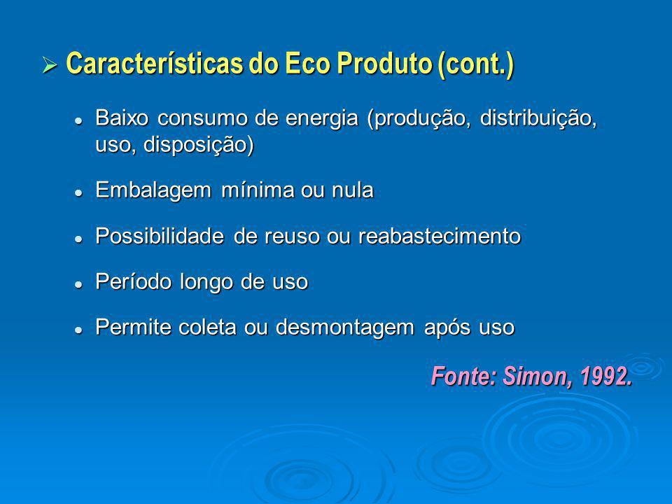  Características do Eco Produto (cont.) Baixo consumo de energia (produção, distribuição, uso, disposição) Baixo consumo de energia (produção, distri