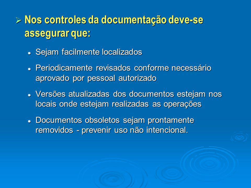  Nos controles da documentação deve-se assegurar que: Sejam facilmente localizados Sejam facilmente localizados Periodicamente revisados conforme nec