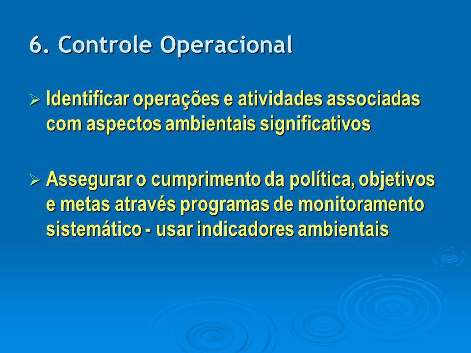 6. Controle Operacional  Identificar operações e atividades associadas com aspectos ambientais significativos  Assegurar o cumprimento da política,