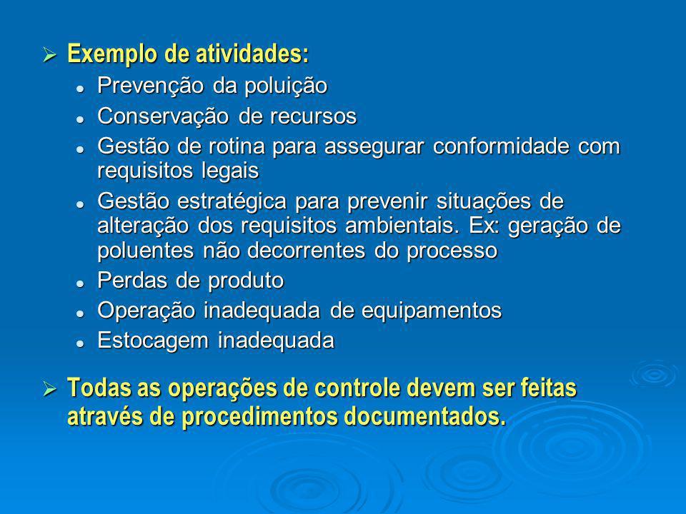 Exemplo de atividades: Prevenção da poluição Prevenção da poluição Conservação de recursos Conservação de recursos Gestão de rotina para assegurar c