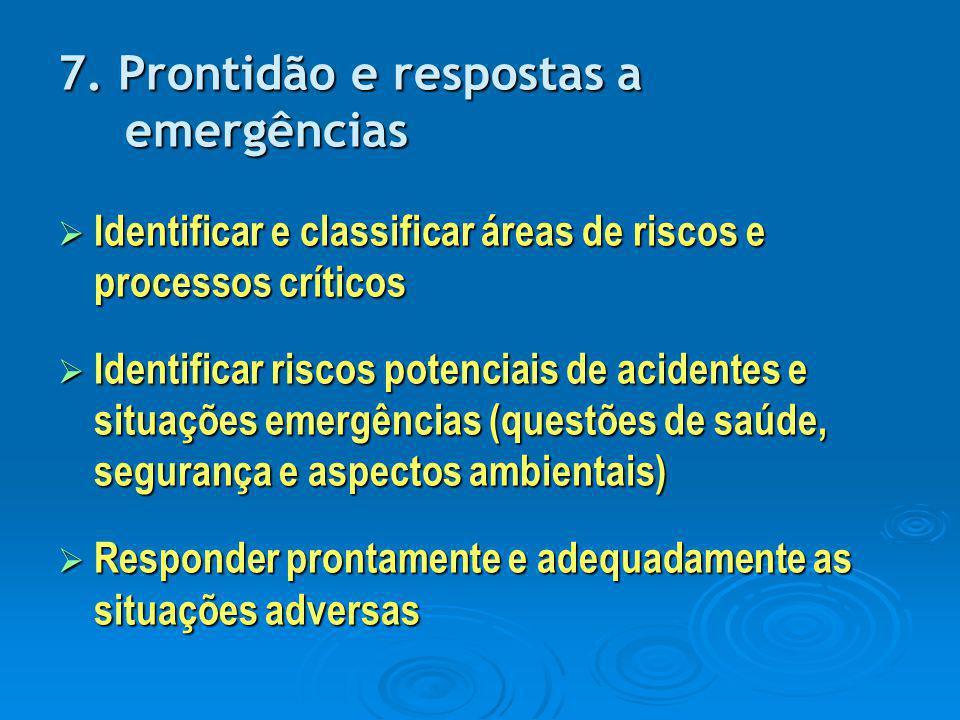 7. Prontidão e respostas a emergências  Identificar e classificar áreas de riscos e processos críticos  Identificar riscos potenciais de acidentes e