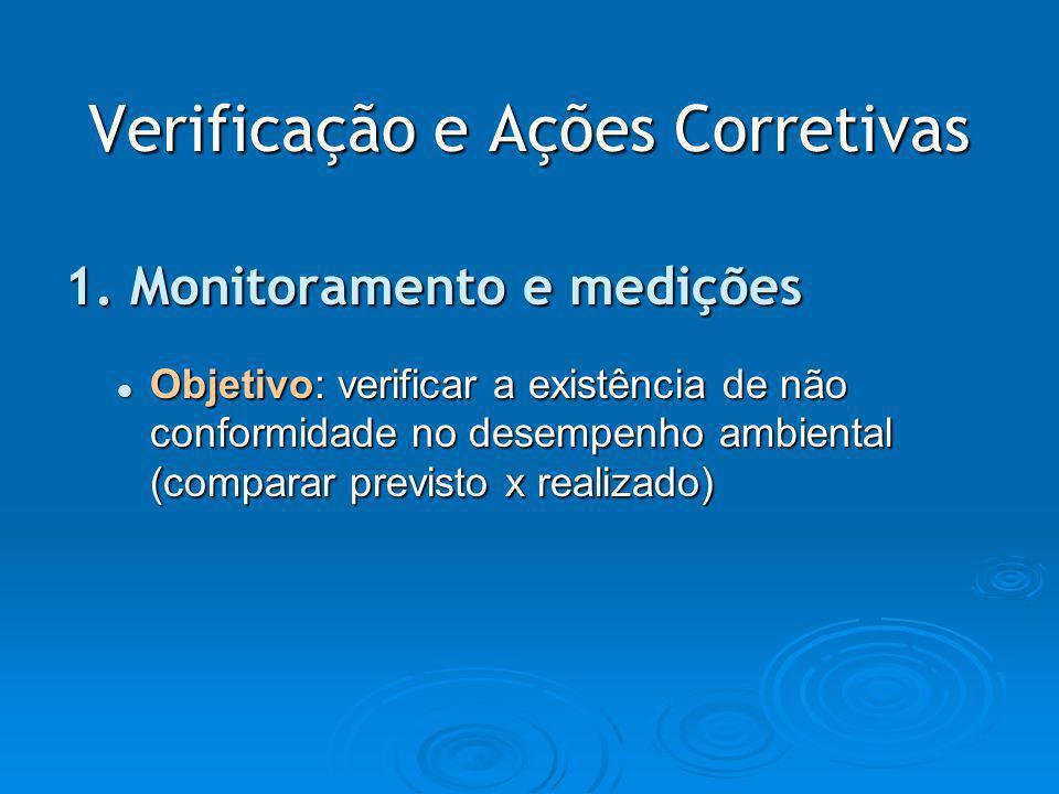 Verificação e Ações Corretivas 1. Monitoramento e medições Objetivo: verificar a existência de não conformidade no desempenho ambiental (comparar prev