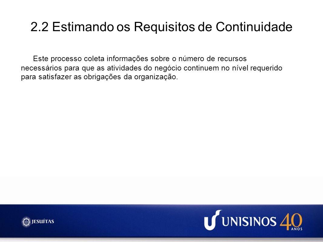 2.2 Estimando os Requisitos de Continuidade Este processo coleta informações sobre o número de recursos necessários para que as atividades do negócio