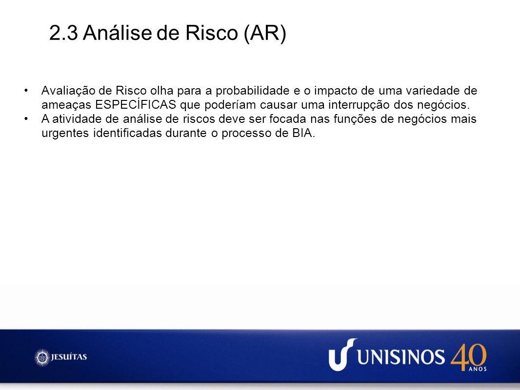 2.3 Análise de Risco (AR) Avaliação de Risco olha para a probabilidade e o impacto de uma variedade de ameaças ESPECÍFICAS que poderíam causar uma int
