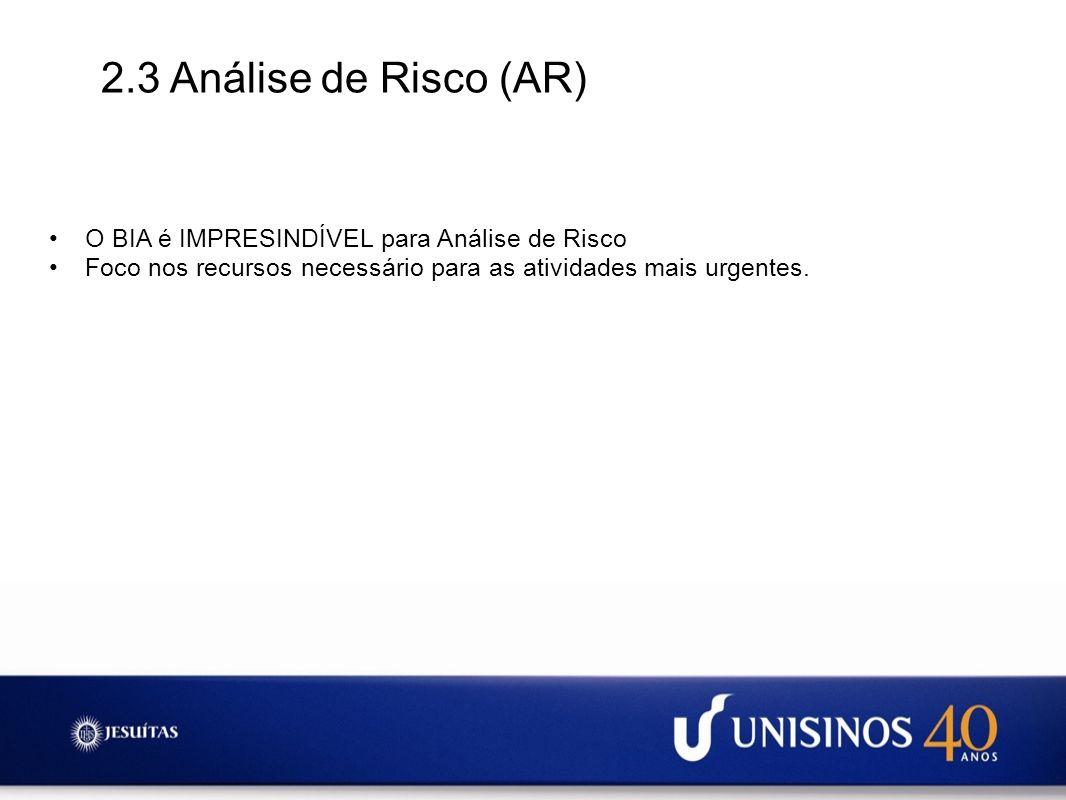 2.3 Análise de Risco (AR) O BIA é IMPRESINDÍVEL para Análise de Risco Foco nos recursos necessário para as atividades mais urgentes.