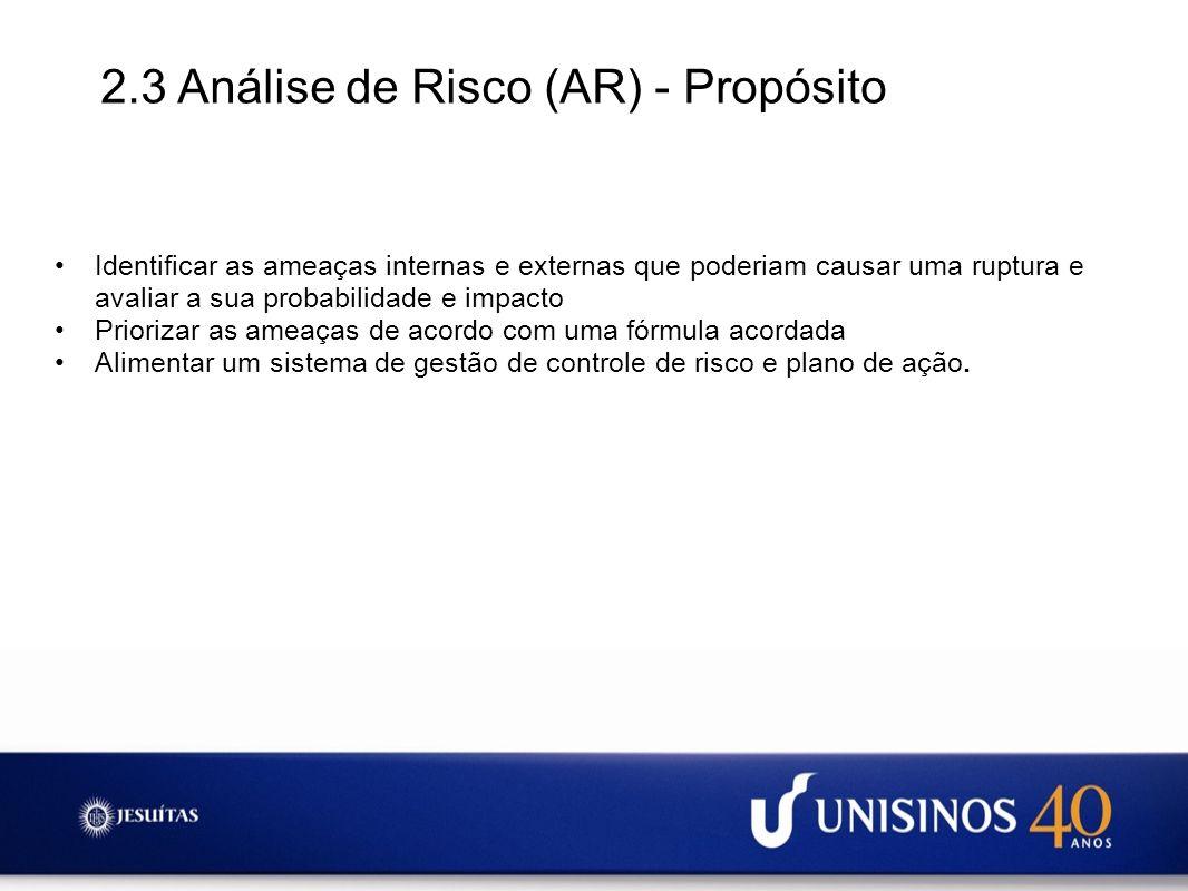 2.3 Análise de Risco (AR) - Propósito Identificar as ameaças internas e externas que poderiam causar uma ruptura e avaliar a sua probabilidade e impac