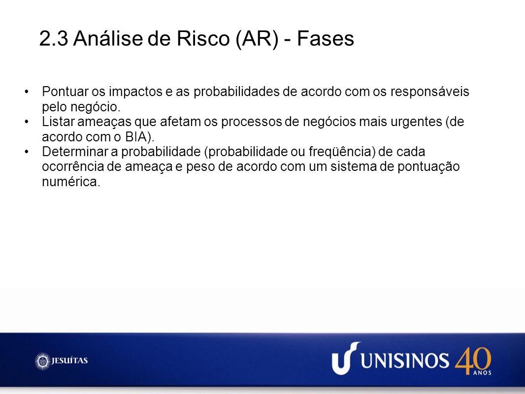 2.3 Análise de Risco (AR) - Fases Pontuar os impactos e as probabilidades de acordo com os responsáveis pelo negócio. Listar ameaças que afetam os pro