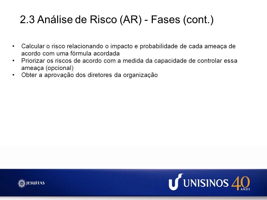 2.3 Análise de Risco (AR) - Fases (cont.) Calcular o risco relacionando o impacto e probabilidade de cada ameaça de acordo com uma fórmula acordada Pr