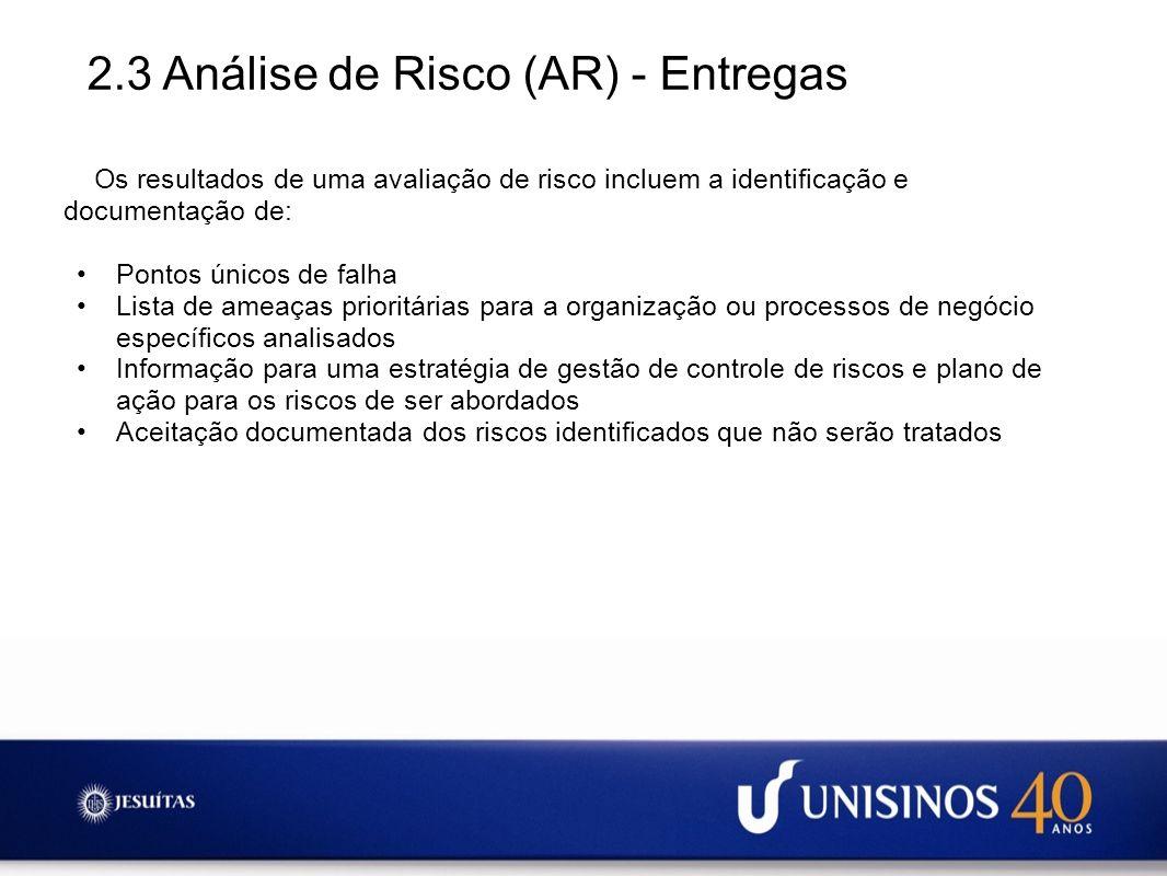 2.3 Análise de Risco (AR) - Entregas Os resultados de uma avaliação de risco incluem a identificação e documentação de: Pontos únicos de falha Lista d