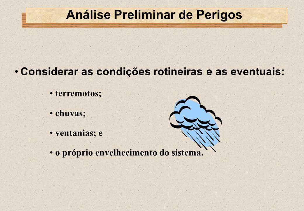 Considerar as condições rotineiras e as eventuais: terremotos; chuvas; ventanias; e o próprio envelhecimento do sistema. Análise Preliminar de Perigos