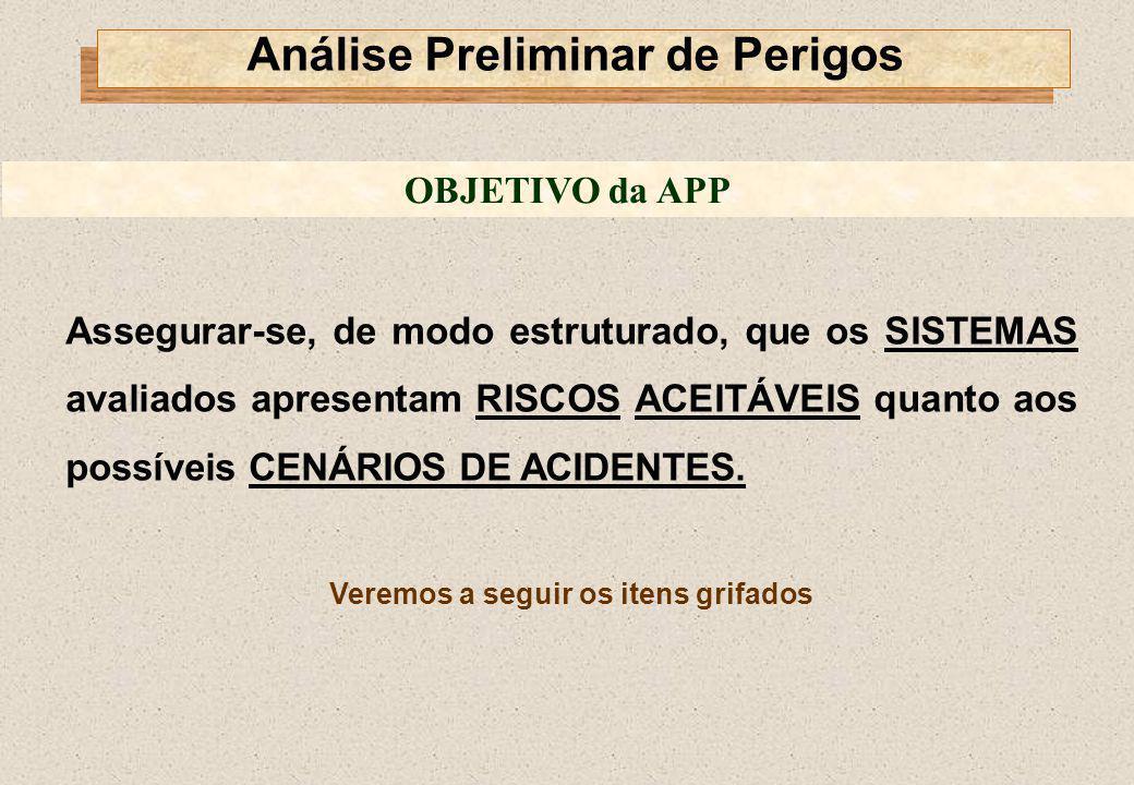 Assegurar-se, de modo estruturado, que os SISTEMAS avaliados apresentam RISCOS ACEITÁVEIS quanto aos possíveis CENÁRIOS DE ACIDENTES. Veremos a seguir