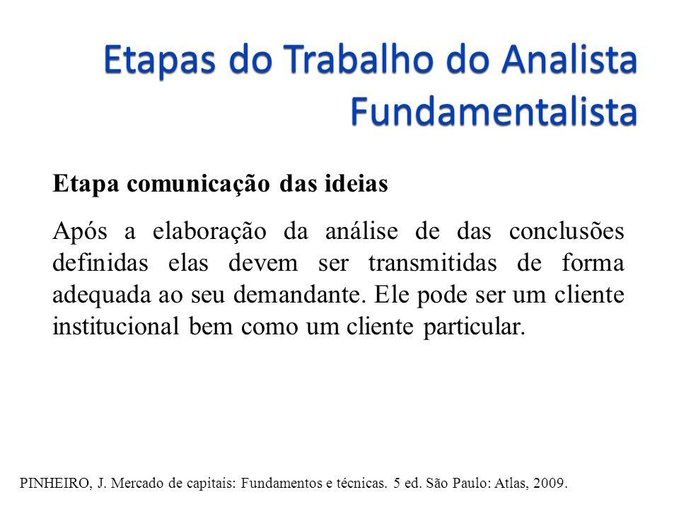 Etapas do Trabalho do Analista Fundamentalista Etapa comunicação das ideias Após a elaboração da análise de das conclusões definidas elas devem ser tr