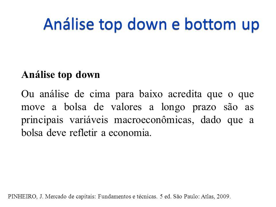 Análise top down e bottom up Análise top down Ou análise de cima para baixo acredita que o que move a bolsa de valores a longo prazo são as principais variáveis macroeconômicas, dado que a bolsa deve refletir a economia.