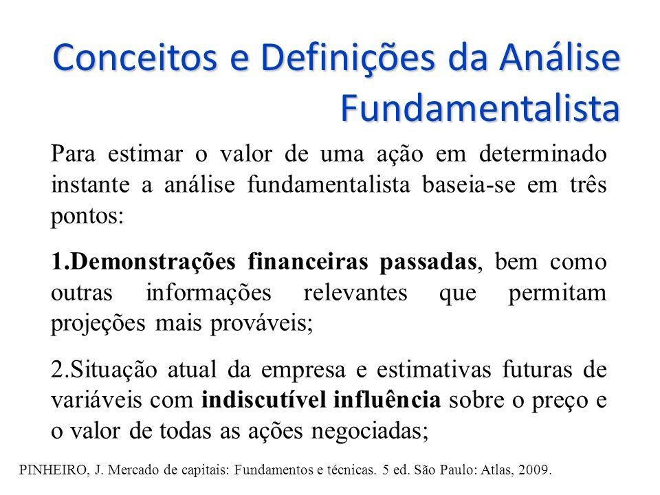 Conceitos e Definições da Análise Fundamentalista Para estimar o valor de uma ação em determinado instante a análise fundamentalista baseia-se em três