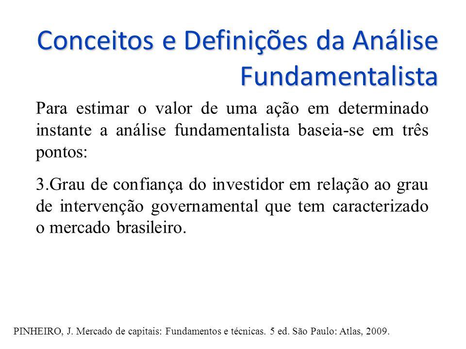 Conceitos e Definições da Análise Fundamentalista Para estimar o valor de uma ação em determinado instante a análise fundamentalista baseia-se em três pontos: 3.Grau de confiança do investidor em relação ao grau de intervenção governamental que tem caracterizado o mercado brasileiro.