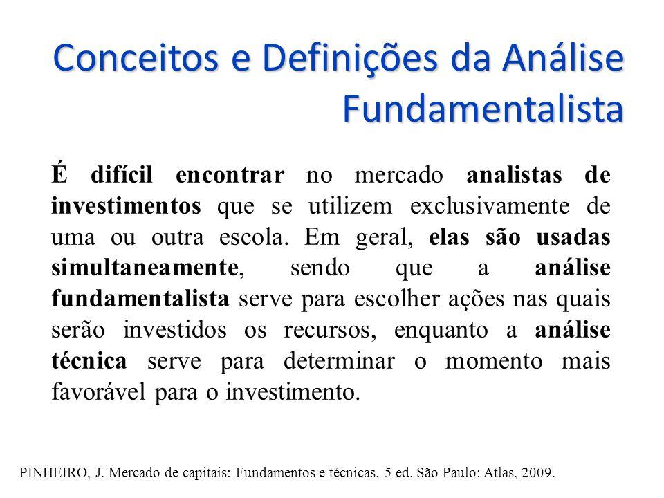 Conceitos e Definições da Análise Fundamentalista É difícil encontrar no mercado analistas de investimentos que se utilizem exclusivamente de uma ou outra escola.