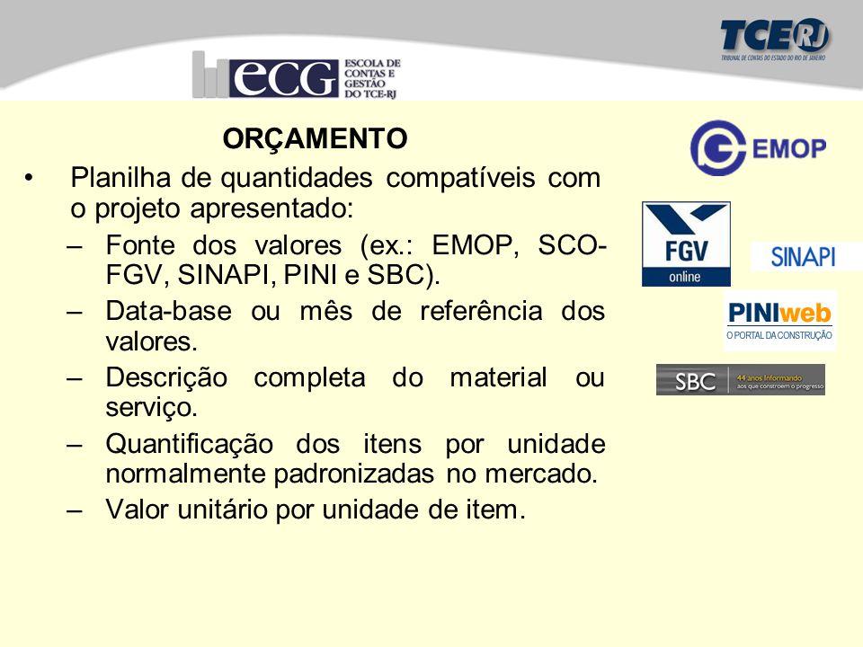 ORÇAMENTO Planilha de quantidades compatíveis com o projeto apresentado: –Fonte dos valores (ex.: EMOP, SCO- FGV, SINAPI, PINI e SBC). –Data-base ou m