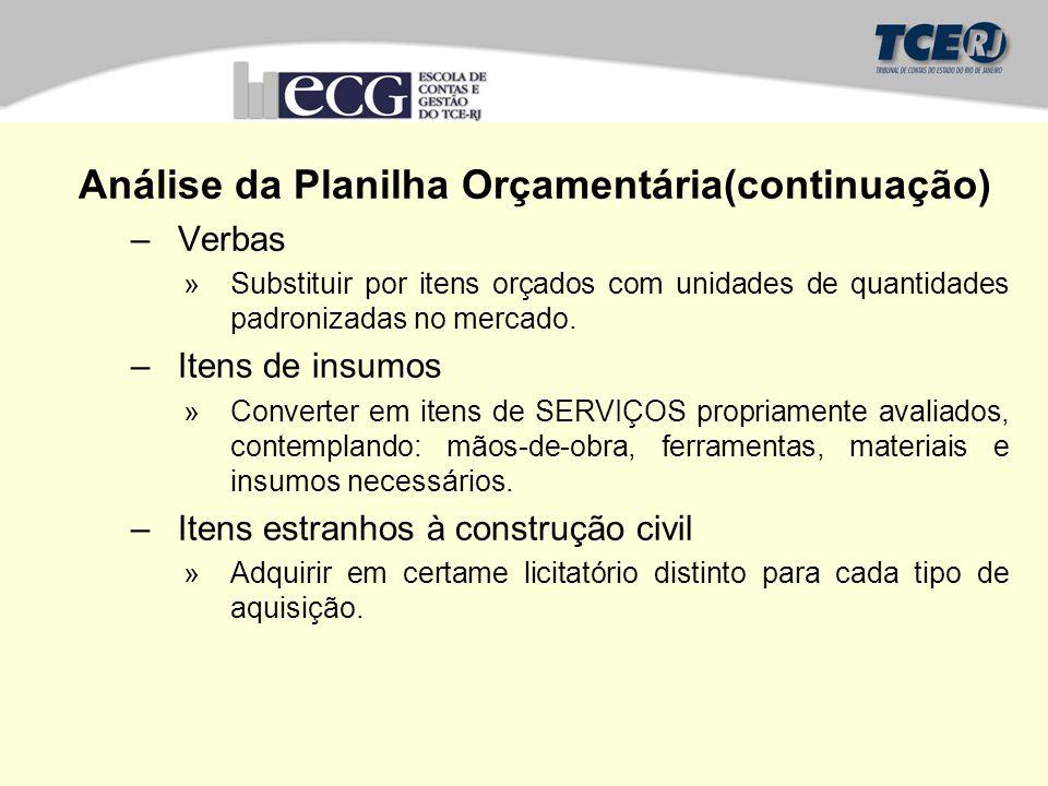 Análise da Planilha Orçamentária(continuação) –Verbas »Substituir por itens orçados com unidades de quantidades padronizadas no mercado.