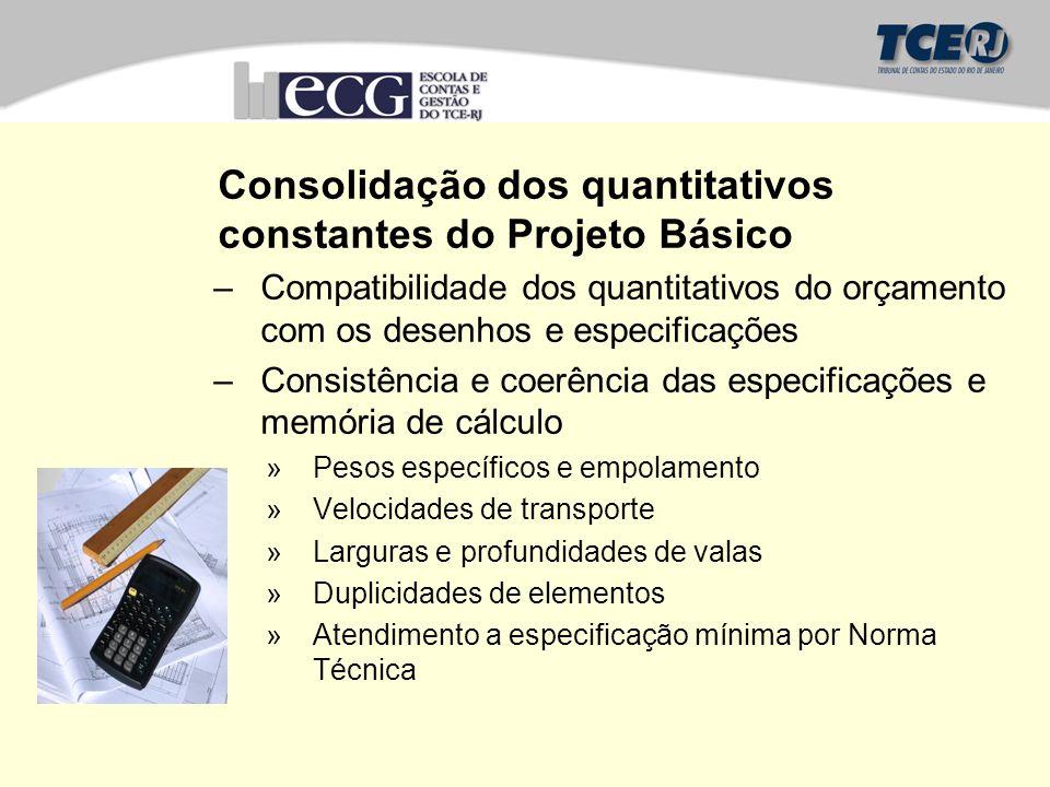 Consolidação dos quantitativos constantes do Projeto Básico –Compatibilidade dos quantitativos do orçamento com os desenhos e especificações –Consistê