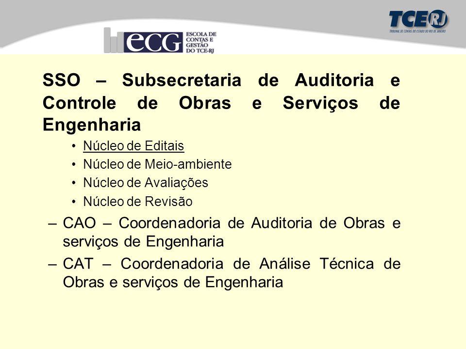 SSO – Subsecretaria de Auditoria e Controle de Obras e Serviços de Engenharia Núcleo de Editais Núcleo de Meio-ambiente Núcleo de Avaliações Núcleo de
