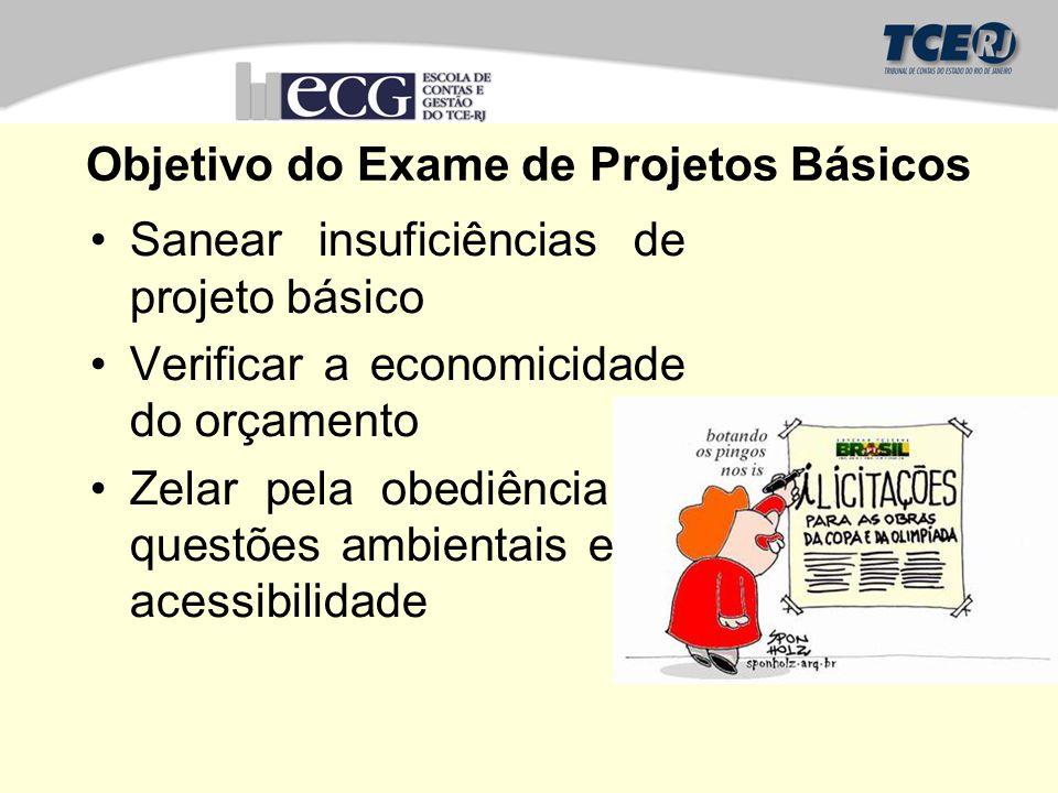 Objetivo do Exame de Projetos Básicos Sanear insuficiências de projeto básico Verificar a economicidade do orçamento Zelar pela obediência às questões ambientais e de acessibilidade