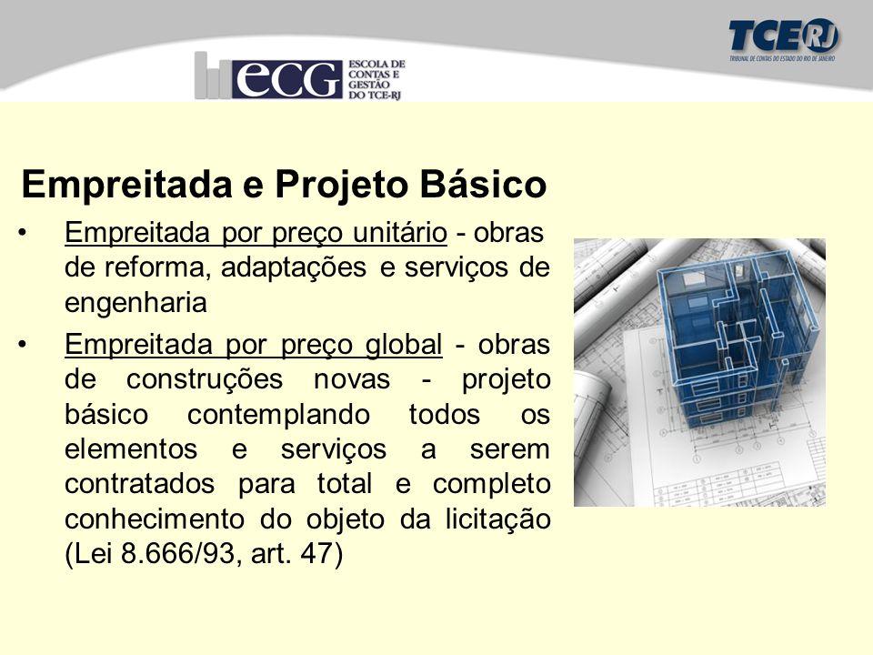 Empreitada e Projeto Básico Empreitada por preço unitário - obras de reforma, adaptações e serviços de engenharia Empreitada por preço global - obras