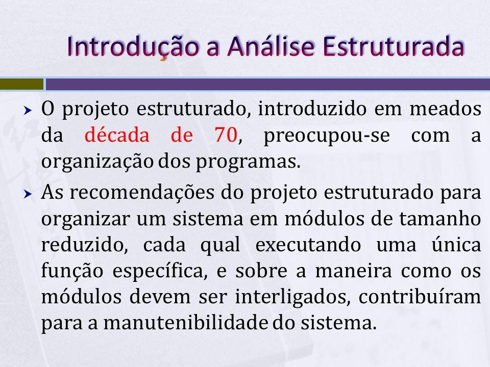  O projeto estruturado, introduzido em meados da década de 70, preocupou-se com a organização dos programas.  As recomendações do projeto estruturad