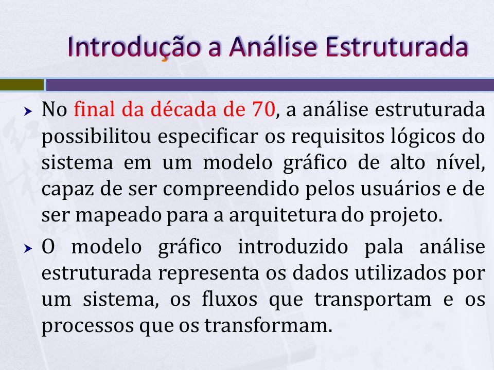  No final da década de 70, a análise estruturada possibilitou especificar os requisitos lógicos do sistema em um modelo gráfico de alto nível, capaz