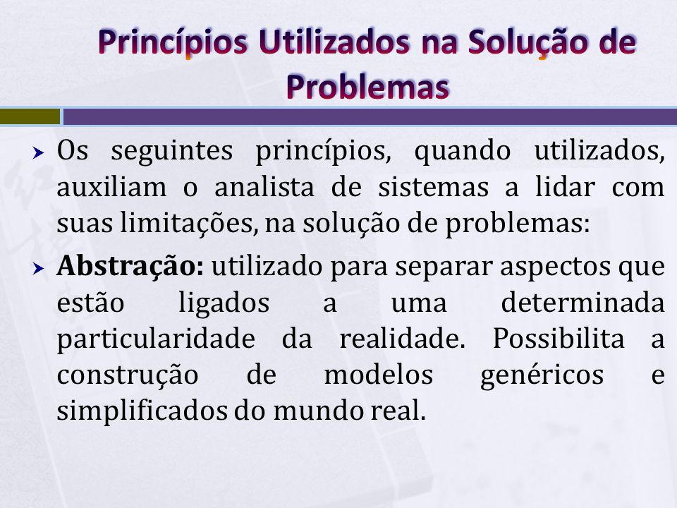  Os seguintes princípios, quando utilizados, auxiliam o analista de sistemas a lidar com suas limitações, na solução de problemas:  Abstração: utili