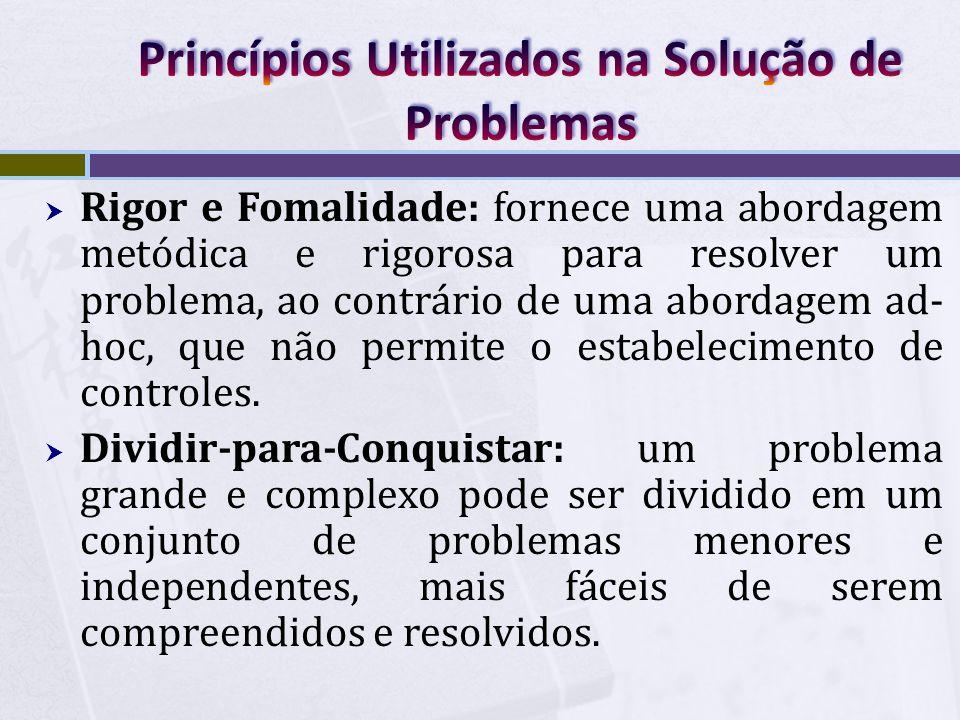  Rigor e Fomalidade: fornece uma abordagem metódica e rigorosa para resolver um problema, ao contrário de uma abordagem ad- hoc, que não permite o es