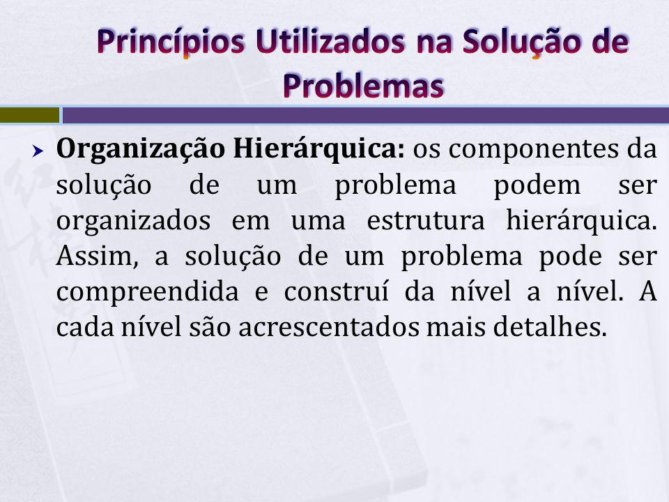  Organização Hierárquica: os componentes da solução de um problema podem ser organizados em uma estrutura hierárquica. Assim, a solução de um problem