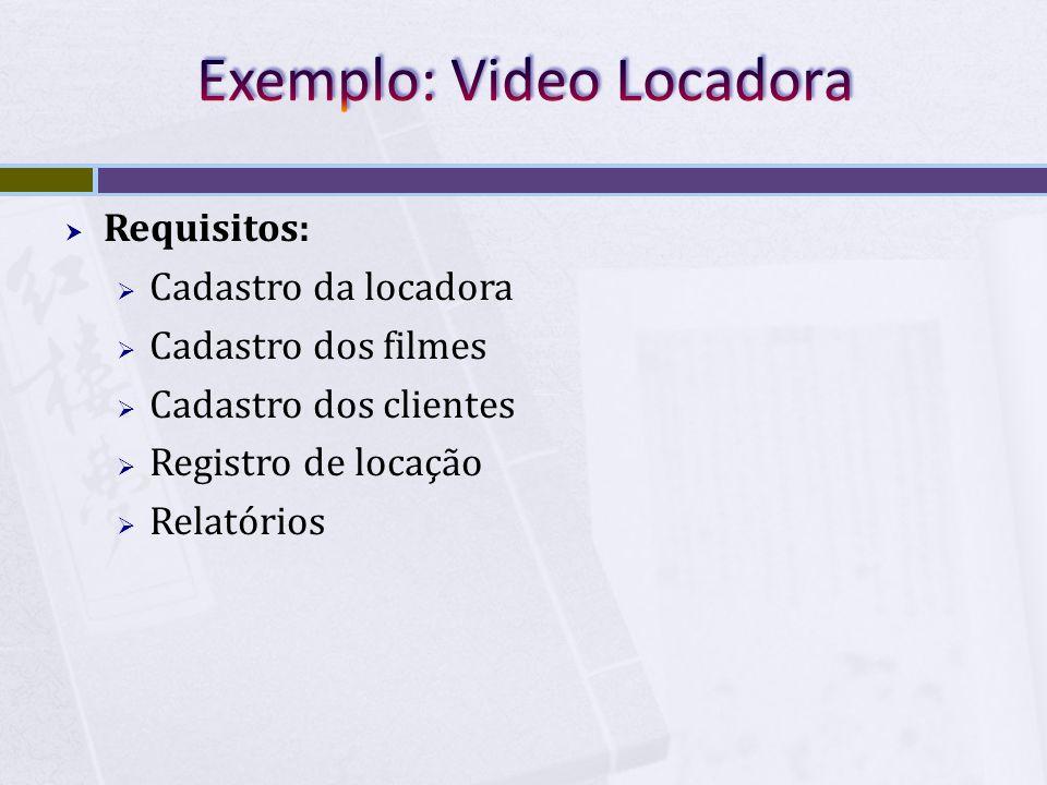  Requisitos:  Cadastro da locadora  Cadastro dos filmes  Cadastro dos clientes  Registro de locação  Relatórios